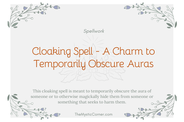 Cloaking Spell - A Charm to Temporarily Obscure Auras